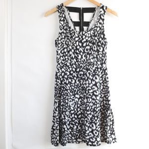 Black and White Animal Print Dress with Cage Back